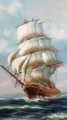 Beautiful painting of a ship on the wild sea