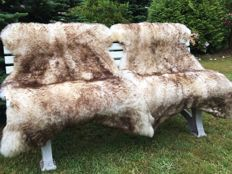 Extra large brown-tipped Mouflon sheepskins - Ovidae sp. - 150cm  (2)