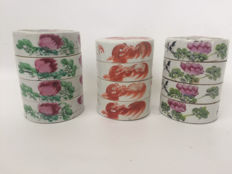 3 porcelain stackable boxes - China - early 20th century