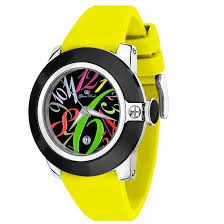 Glam Rock – women's watch, steel with coloured dial and yellow strap