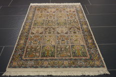 Magnificent hand-knotted silk carpet, Kashmir silk fields Qom, natural silk, 76 x 130 cm, made in Cashmere
