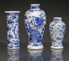 lot of 3 antique Chinese blue & white porcelain vases - China - 19th century