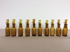 10 unusual small pharmacy bottles. Germany -  early 20th century.