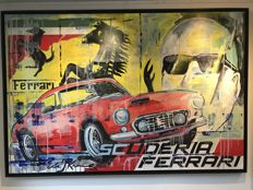 Eric Jan Kremer - FERRARI - Enzo Ferrari & 250 GT - original painting - acrylic on canvas - framed - 155 x 105 cm