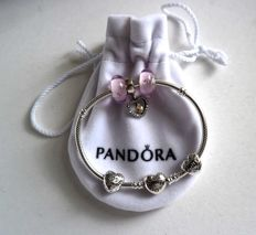 "Bracelet- Pandora heart with 5 charms with the theme ""always in my heart"""