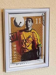 Romario - Brazil, PSV, Barcelona - original framed and original autographed art photo + COA