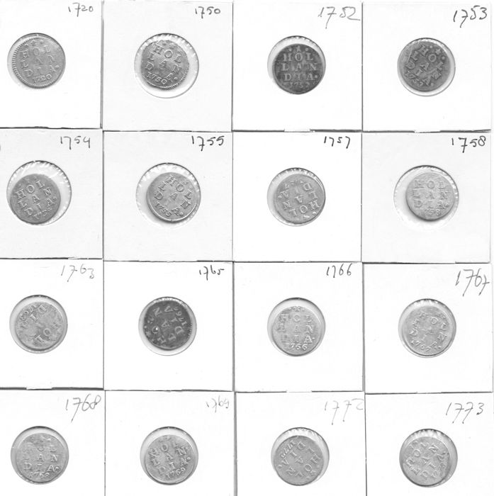 "Holland - double coat of arms ""stuivers"" (5 cent coins), 1720/1773 (16 different) - silver."