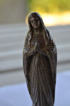 Statue of the Virgin, patinated spelter, Lourdes, France beginning 20 th century