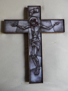 Painted opaline cross with Christ - signed