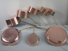 5 Red Copper saucepans and 3 frying pans