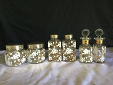 6 Pieces Toiletry Set in enamelled glass