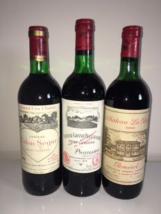 1978 Chateau Calon Segur GCC x 1 bottle & 1980 Chateau La Pointe Pomerol x 1 bottle & 1975 Grand Puy Lacoste x 1 bottle - 3 bottles (75cl)