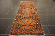 Rare beautiful antique Persian rug around 1960, hand-knotted circa 1, Hamadan, plant dyes, 100 x 240 cm runner, from € 1, no reserve price