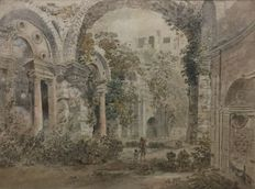 Robert  Hubert  Attr.  ( 1733-1808  )  ; Landscape with Roman ruins and figures;  France;