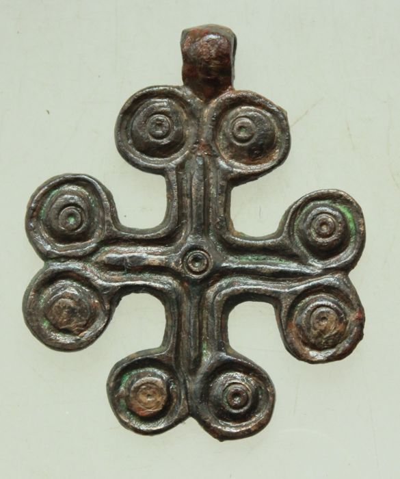 Old Bronze Cross With Decorations Roman Iron Age Length