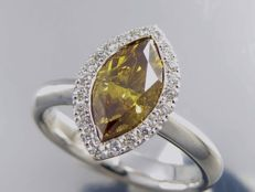 White gold ring with marquise cut: Natural fancy deep diamond with GIA certificate & surrounding diamonds, 1.51 ct in total.