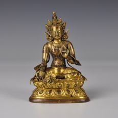 Gold plated bronze figurine - Tibet - 18th century