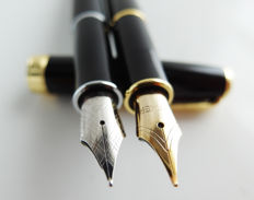 Parker:  2x luxury Sonnet fountain pen: glossy black with gold-plated accents + matte black with chrome accents, with Parker gift box (024)