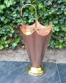 Red and brass umbrella stand; hammered copper - 20th century