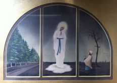 Large religious triptych Chapel of appearances Mary Lourdes - Monasterium Saint Lioba the Netherlands - 20th century