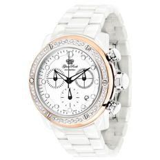 Glam Rock – Women's watch, white ceramics with case over rosé with diamond