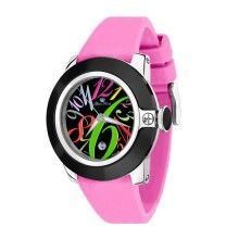 Glam Rock – Steel women's watch with a colourful dial and a pink strap