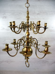 Heavy, brass 12-point candle pendant light Renaissance-style, early 20th century