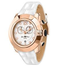 Glam Rock – Women's watch, steel rose IP with white patent leather strap and dial