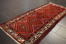 Semi-antique Persian Hamadan carpet 85 x 190cm. Made in Iran, best highland wool. Tappeto Tapis rug old carpet Tapjit