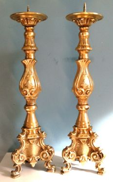 Marked pair of heavy hand forged gilded large church candlesticks - France (Versailles) - early 18th century