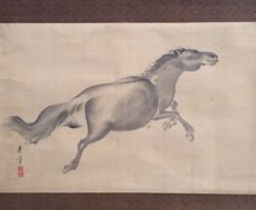 'Running Horse' - old scroll painting by Nakajima Raishô  来章,中島 (1796 - 1871), signed and sealed - Japan - ca. 1850