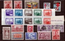 Spain 1936/45 - Set with complete series - Edifil 741, 761/2, 763, 767/8, SH 849, 833/5, 840, 866, 983, 991/2.