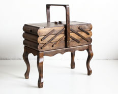 Antique wooden sewing box, early 20th century