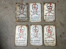"6 Polish ""High Voltage"" signs - Enamel signs from the '60s - '70s"
