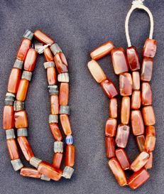 Two old ethnic cornelian necklaces - Mali - early 20th