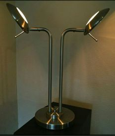 Two-armed extremely decorative table / desk lamp. Signed Jan des Bouvrie Gold-coloured