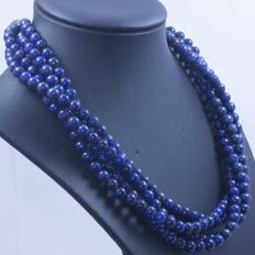 Necklace of 925/1000 silver with lapis lazuli, 4 threads, 6 mm, length 43 cm – No reserve