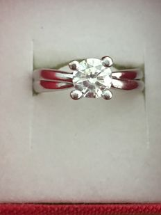 18 kt white gold solitaire ring with 1.10 ct diamond - Size 18 mm