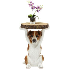 The table is held up by a Jack Russell dog - the table top looks like it is really from a tree top