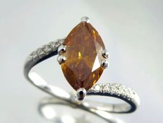 White gold ring with natural, fancy deep brownish yellowish orangy, marquise-cut diamond of 1.55 ct, with GIA certificate