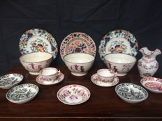 10 pieces of various tableware with blue and white transfer print decorations, Holland and England, circa 1850