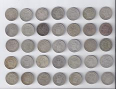 The Netherlands – ½ guilder coins 1921, 1922, 1928, 1929 and 1930, Wilhelmina (35 pieces) – silver.