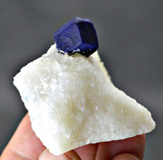 Awesome deep blue lazurite on calcite matrix with a touch of pyrite - 54x48x43mm -78 grams