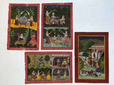 Lot with 4 Miniature paintings - India - early 20th Century