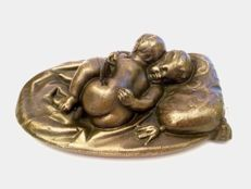 Bronze sculpture of two sleeping children - France - 1870's