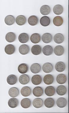 The Netherlands – ½ guilder coins 1921, 1929 and 1930, Wilhelmina (36 pieces) – silver