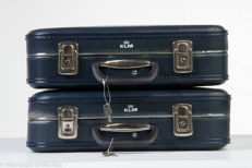 2 Vintage blue KLM suitcases, both complete with keys