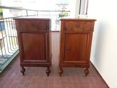 Pair of walnut and walnut-root nightstands, Veneto, Italy - early 20th century