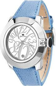 Glam Rock – Women's watch, steel with blue leather strap and white dial