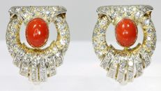 Impressive Fifties yellow and white gold ear clips with 122! diamonds and blood coral - 1950